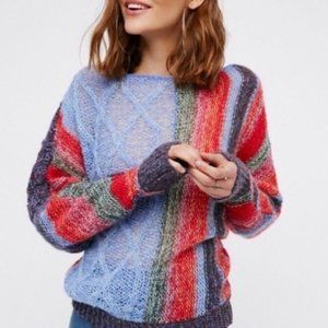 Free People Multicolor Loose Knit Sweater large